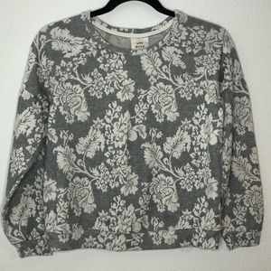 Knox Rose Gray White Floral Cropped Sweater Xsmall